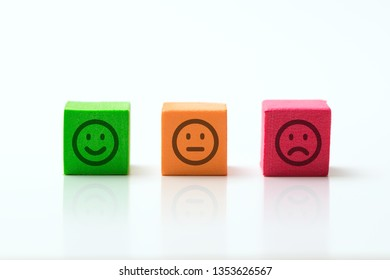 emoticons icon positive, neutral and negative, illustration of red, yellow and green different mood.