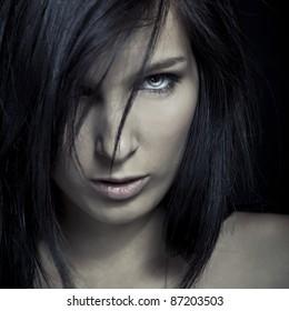 emotion expression dark girl face - blue eye