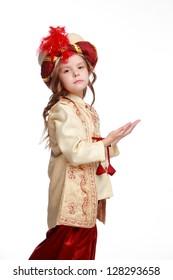 Emotion girl as a Turkish pasha is praying