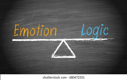 Emotion and Logic Balance - chalkboard with seesaw and text, evaluation concept