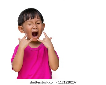 Emotion stance of Cute asian little boy wearing pink t-shirt. In his hands is a symbol I love you, Action isolate on white background