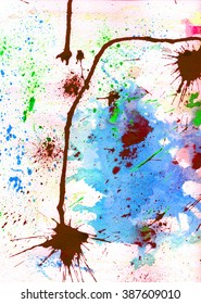 Emotional art. Grunge watercolor and ink paint. Abstract design. Modern hipster backtop. Atmosphere web site background. Futuristic art.