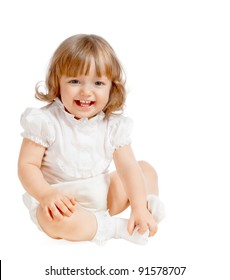 Emotional beautiful baby on a white background
