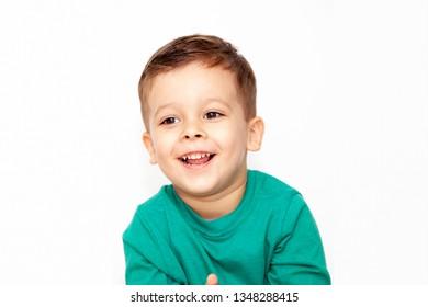 emotional boy on a light background
