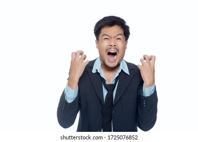 An emotional business man on white background