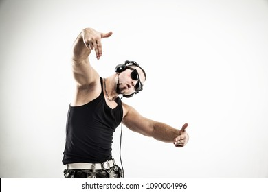 emotional and charismatic DJ - rapper in headphones takes the ra