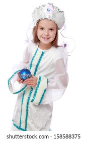 Emotional cheerful little girl in a nice suit Russian Snow Maiden on a white background on Christmas