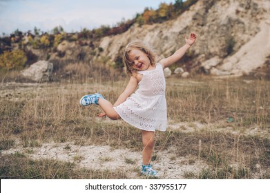 emotional child girl outdoors