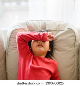 Emotional Crying and Sad  Angry little girl at home.Mad kid got upset and sad and she has a negative attitude.Depressed little girl complaining.Attention deficit hyperactivity disorder(ADHD) Concept.