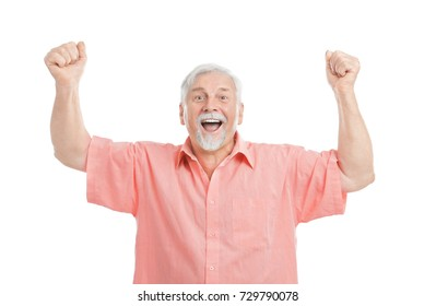 Emotional elderly man in casual clothes on white background