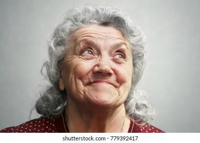 Emotional elderly woman face