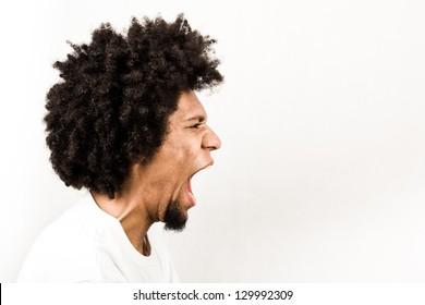Emotional facial expression of man - scream