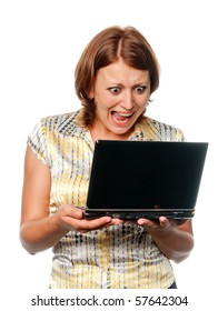 Emotional girl with laptop