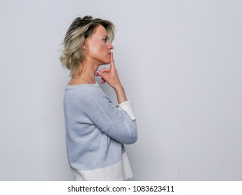 Emotional intelligence. Side view sequence of a woman thinking. Human face expression