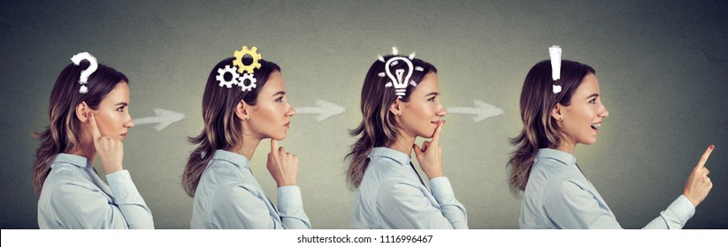 Emotional intelligence. Side view sequence of a woman thoughtful, thinking, finding solution with gear mechanism, question, exclamation, lightbulb symbols. Human face expression