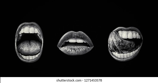 Emotional lips set. Passion of female open seductive mouth with lip make up. Female desire. Close up of isolated open girl lips on black background. Dark color of open mouth. White teeth and tongue
