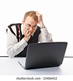 emotional man in office with computer on white background
