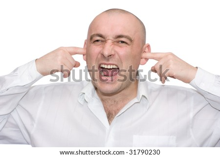 emotional men white shirt isolated over stock photo edit now