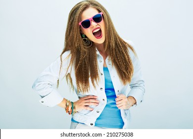emotional model in youth style standing against white background .