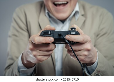 Emotional office clerk games with joystick on a gray background