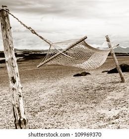Emotional picture of Hammock on Morar beach, Scotland