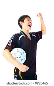 emotional player with ball on white background