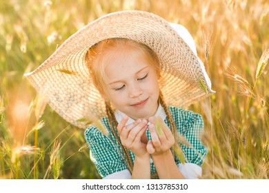 Emotional portrait of a funny and enthusiastic little girl with light pigtails and a straw hat looking at a blade of grass while sitting in a wheat field at sunset. Childhood. Summertime. Summer life
