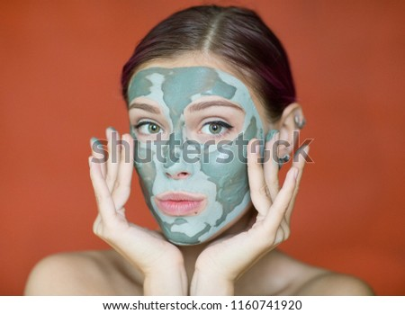 Naked girl face mask, self induced facial