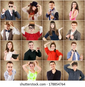 Emotional portraits diverse young people