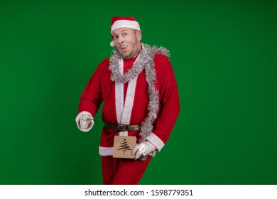 Emotional Santa Claus dancing and poses on a green chrome background