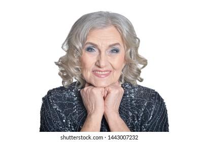 Emotional senior beautiful woman posing on white background