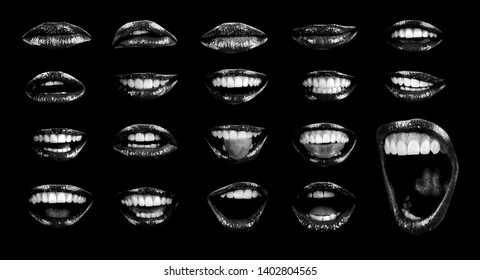 Emotional sexy lips of a female mouth. The passion of a female open mouth is seductive with lipstick. Picture of girl's lips log isolated on black background. Black color with open mouth.
