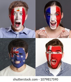 Emotional soccer fans with painted flags of France, Australia, Peru and Denmark on faces. Rooters of football worldcup competition between rival countries of group C.