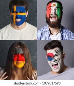Emotional soccer fans with painted flags of Germany, Mexico, Sweden and South Korea on faces. Rooters of football worldcup competition between rival countries of group F.