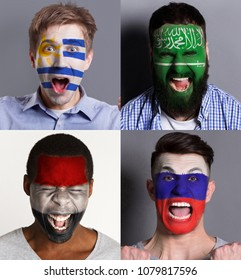 Emotional soccer fans with painted flags of Russia, Saudi Arabia, Egypt and Uruguay on faces. Rooters of football worldcup competition between rival countries of group A.