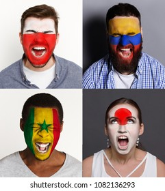 Emotional soccer fans with painted flags of Poland, Senegal, Columbia and Japan on faces. Rooters of football worldcup competition between rival countries of group H.