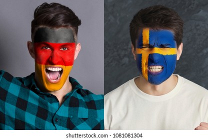 Emotional soccer fans with painted Germany and Sweden flags on faces. Confrontation of football team supporters from rival countries, sport event, faceart and patriotism concept.