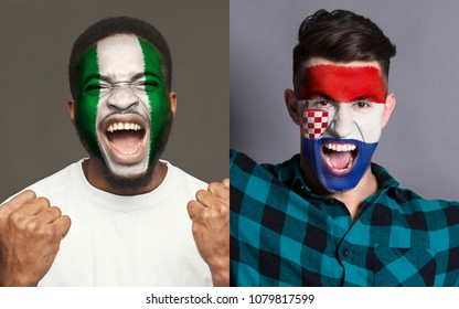 Emotional soccer fans with painted Nigeria and Croatia flags on faces. Confrontation of football team supporters from rival countries, sport event, faceart and patriotism concept.