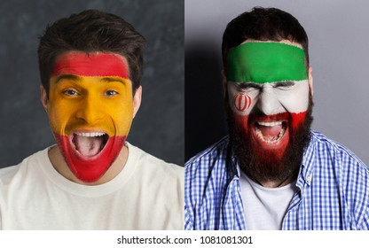 Emotional soccer fans with painted Spain and Iran flags on faces. Confrontation of football team supporters from rival countries, sport event, faceart and patriotism concept.
