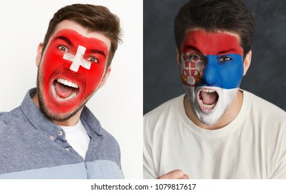 Emotional soccer fans with painted Switzerland and Serbia flags on faces. Confrontation of football team supporters from rival countries, sport event, faceart and patriotism concept.