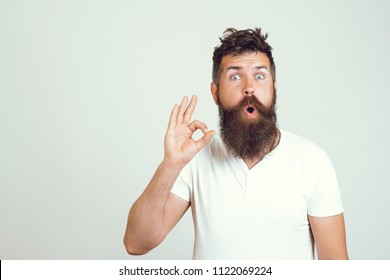 Emotional surprised bearded male shows ok sign with both hands, shows his approval, demonstrates that everything is fine, gestures against white wall. Body language and facial expressions. Excellent!