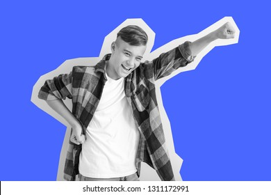 Emotional teenage boy on color background