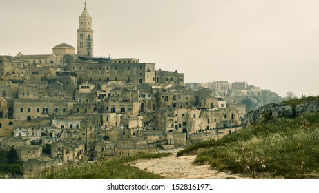 Emotional view of City of Matera, Poetic landscape with Matera Sassi in the background, Southern Italy, Basilicata