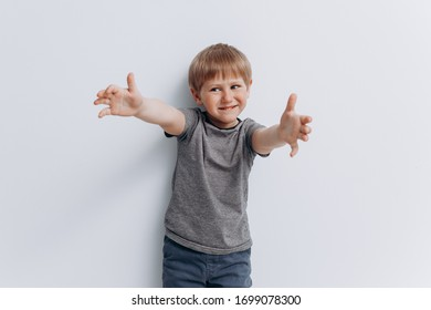 emotions cheerful boy child on a white background smile
