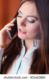 Emotions and communication message. Young stressed woman talk make a phone call cell phone argue.