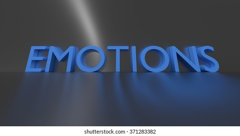 Emotions concept word - blue text on grey background.