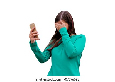 Emotions, embarrassment, awkwardness gestures concept. Ashamed woman making facepalm placing hand on her for forehead. isolated on white background with clipping path