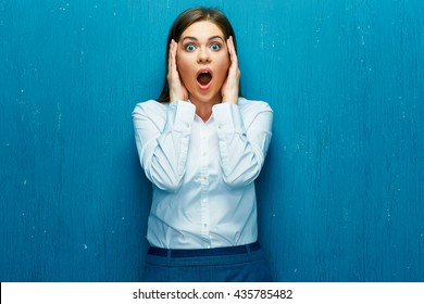 Emotions woman broker when share prices are falling down. Negative outlook leads to panic in the securities market.
