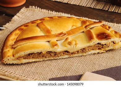 Empanada Gallega, Traditional pie stuffed with tuna fish typical from Galicia, Spain
