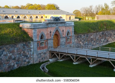 Emperor gates and wooden bridge in Daugavpils fortress, Latvia. Daugavpils fortress is a famous place in Latvia.